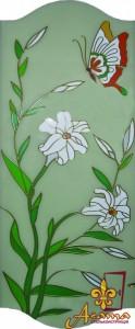 Вітраж квіти і метелик